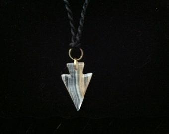 Handmade Native American Arrow Necklace on Black Twist Cord