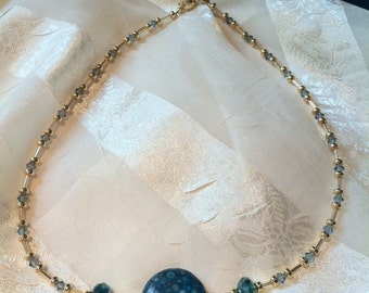 Pretty Turquoise Necklace Blue Bulls Eye Jasper & India Sapphire Crystal Necklace Handmade Jewelry