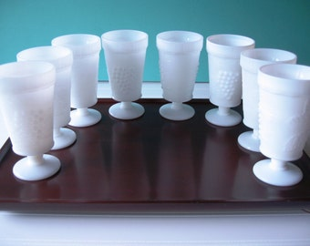 Milk Glass Goblets, Tumblers, Drinking Glasses, Farmhouse, Cottage, Shabby Chic