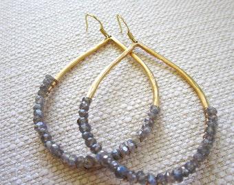 Large Hoop Earrings, Hand wire wrapped Jewelry, Gold teardrop, hand wrap wire earrings, Labradorite gemstone jewelry