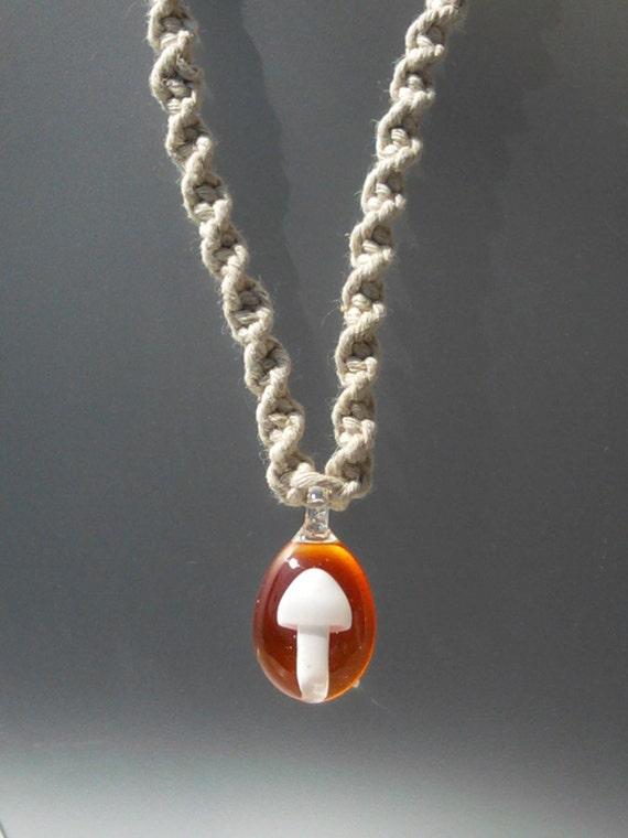 Handmade earth Hemp necklace with Handblown GLASS Mushroom bead pendant RED Orange