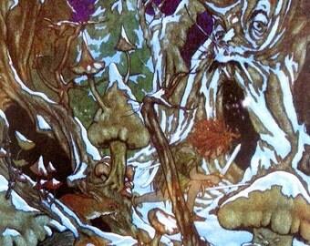 80s PETER PAN in the WINTER Wood Michael Hague print