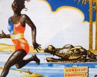 1931 ZOO CROCODILE Weimar GERMANY print