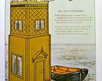 1800s FOUR PRINCESSES Kate GREENAWAY Print Ideal for Framing