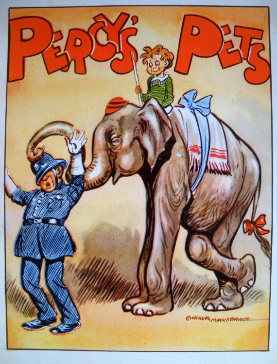1940s ELEPHANT and POLICEMAN Percy's Pets PRINT