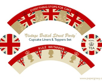 INSTANT DOWNLOAD Printable Retro Royal British Tea Party Cupcake Wrappers & Toppers Set
