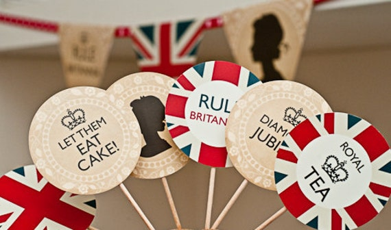 INSTANT DOWNLOAD Printable British Royal Cupcake Toppers
