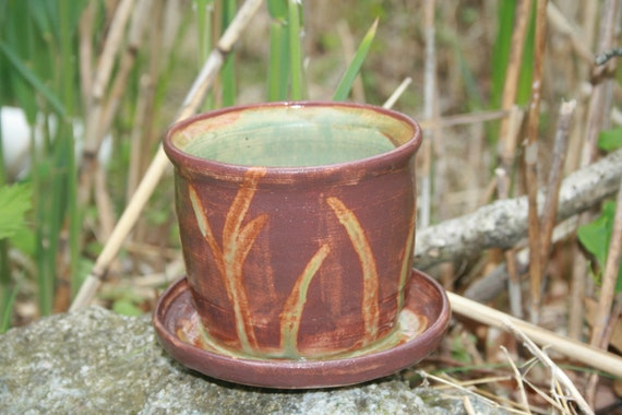 CLEARANCE: Planter With Attached Saucer, Stoneware Ceramic Pottery