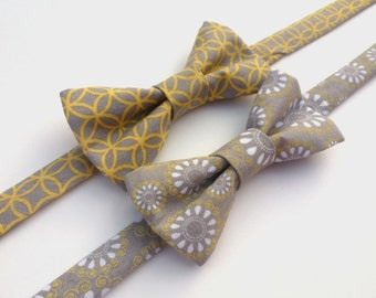 Boys Bow Tie- Grey and Yellow - Sizes newborn-adult