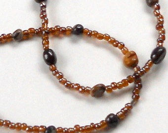SALE Brown Long Beaded Necklace Autumn Rustic Agate Natural Stone Woodsy Earthtones Fashion Jewelry