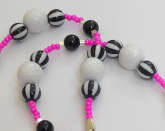 Pink Necklace Black White Stripes Bright Silver Long Beaded Neon Hot Summer Fashion Jewelry Matching Bracelets Earrings Free Shipping