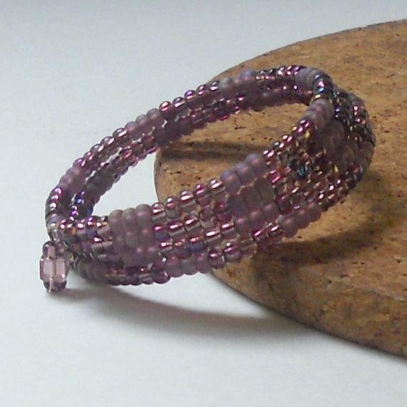 SALE Purple Bracelet Plum Free Shipping Memory Wire Beaded Spring Slinky Fashion Jewelry Paisley Beading Lilac