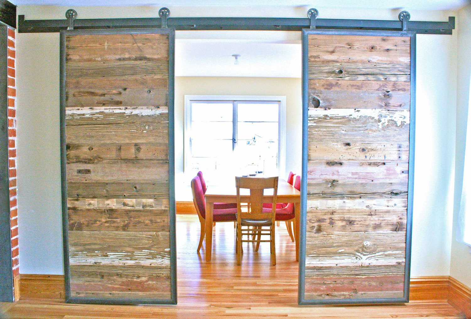 Barn Doors In Reclaimed Wood Tracks Included By Dancinggrains