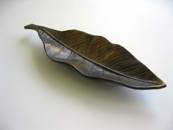 Vintage Bronze Tobacco Leaf Dish Sculpture SHIPPING INCLUDED