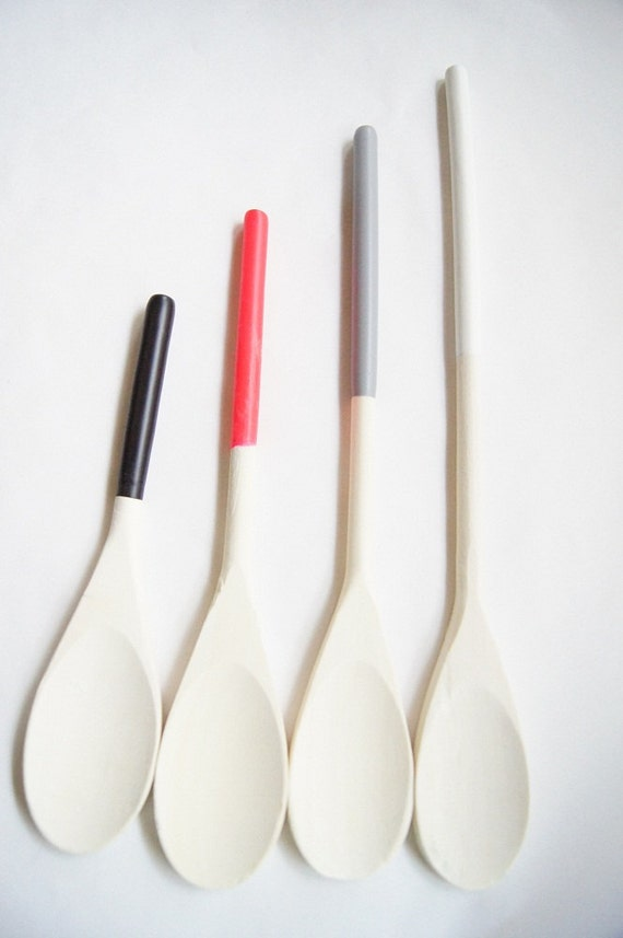 CLEARANCE 50% OFF-Wooden Spoons Set of 4: Black, Grey, White and Neon Pink,  Modern Kitchen