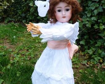 Precious Old Antique Victorian German Bisque Head B. Illfelder & Co. Doll w/Brown Glass Sleep Eyes