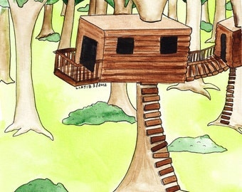 Tree house illustration, watercolor illustration print on A5 paper great brown and green forest toddler room as holiday gift for baby shower