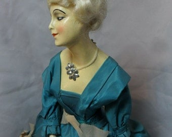 Vintage Boudoir Half Doll Dressed on Wire Stand