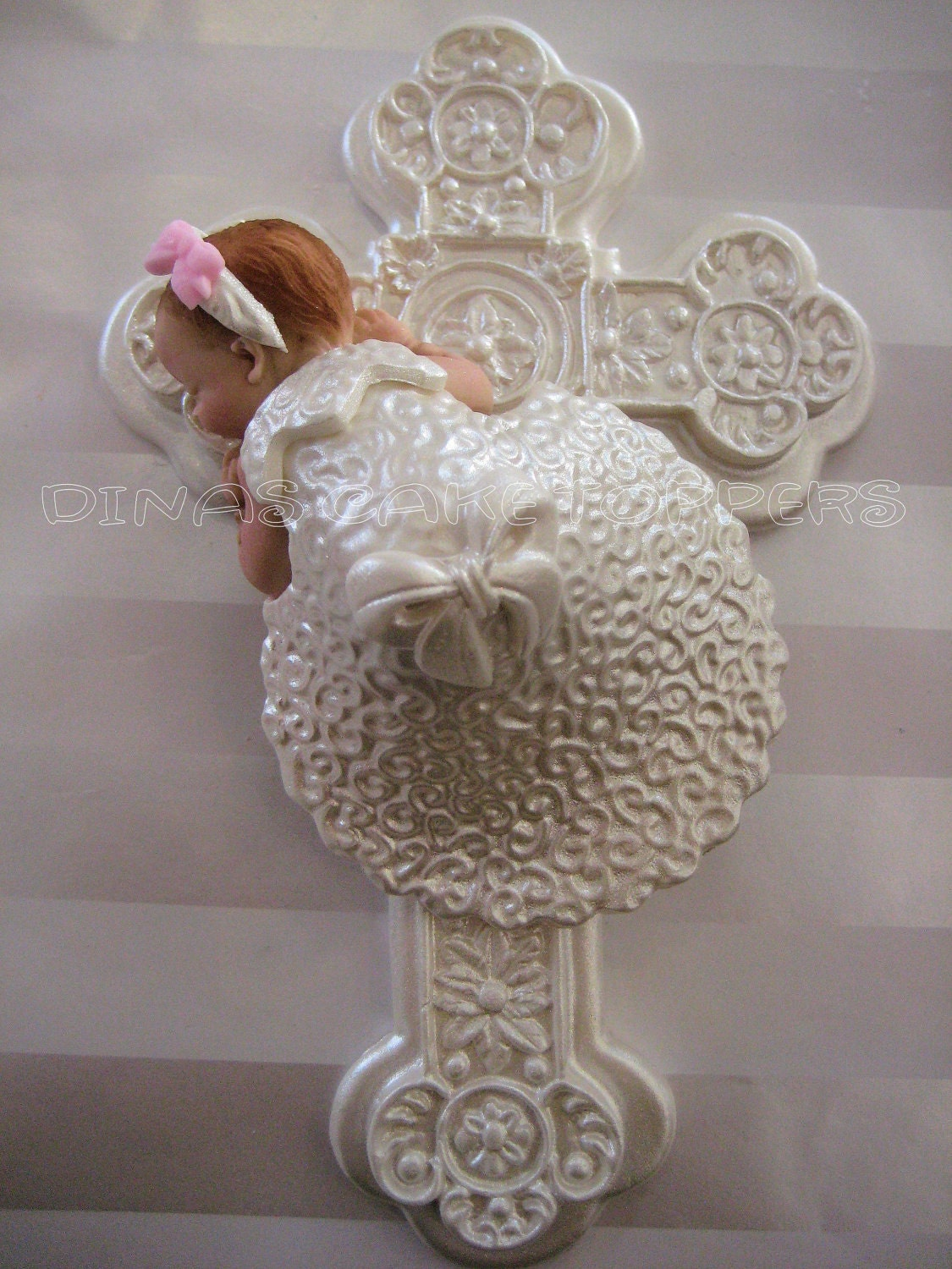 Cake Toppers For Baby Girl Christening : BAPTISM CHRISTENING Gown Cake Topper Cross by DinasCakeToppers