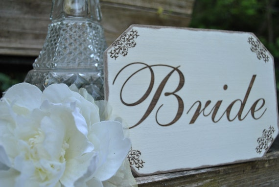 Bride Wedding Sign, Vintage Inspired Handmade Laser Etched With Decorative Decals, Wedding Décor