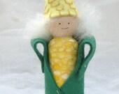 Wood Peg Doll Corn Harvest Totem