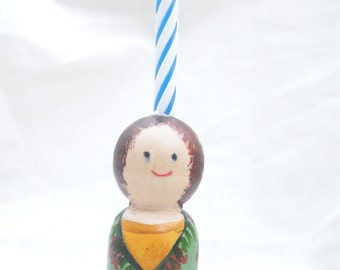 Wood Peg Doll Birthday Cake Candle Holder