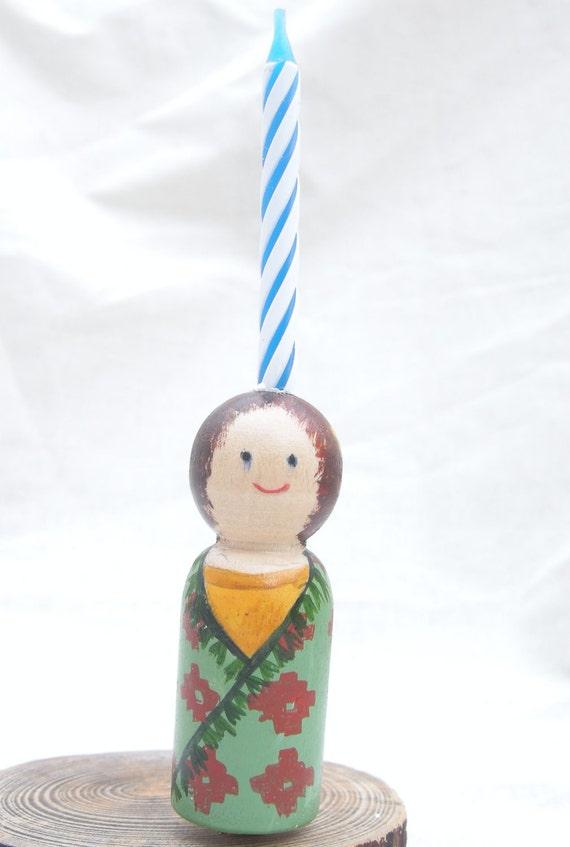 Wood Peg Doll Birthday Cake Candle Holder
