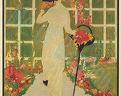 Vintage Vogue Magazine Cover Art, Fashion Print, 1920's, Cream, Green, Pink, Coral, Beige - Home Furnishings - May 1913