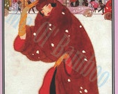 Vintage Vogue Magazine Cover Art, Fashion Print, 1920's, Brown, Red, Black, White, Pink  - November 1920 - Winter Fashions