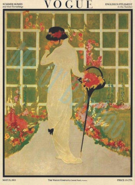 vintage vogue magazine cover art fashion print 1920s