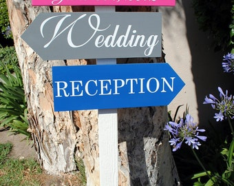Wedding Directional arrow signs RECEPTION WEDDING Directionals with wedding Date