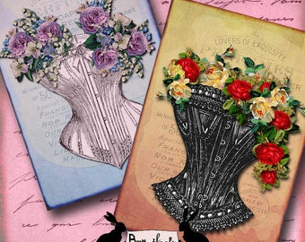 flowers of affection - vintage corset, corsets, note cards, journaling,  scrapbooking, gift tag