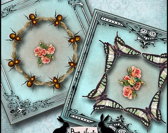 buzz and flutter - vintage, digital art, coasters, altered art