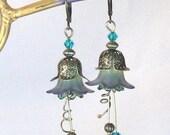 """Blue on Green """"Fairy"""" Flower Antique Brass & Swarovski Crystal Earrings, Blue Jewelry, Green Jewelry, Summer, Flowers, Gifts for Women"""