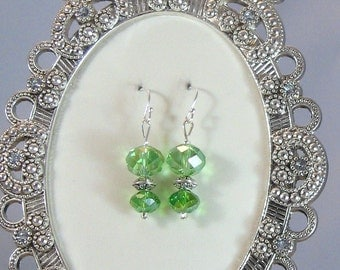 Green Fire-Polished Crystal & Silver Drop Earrings, Green Jewelry, Green, Birthday Gifts, Gifts for Grads, Bridesmaids Jewelry