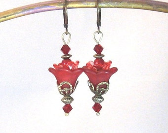 Ruby Red Flower Antiqued Brass, Crystal & Pearl Dangle Earrings, Flower Jewelry, Red Jewelry, Flowers, Gifts for Women, Summer