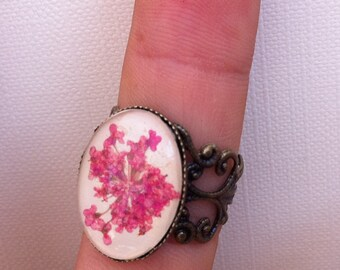 pink flower ring - nature ring - pressed flower filigree ring with leather, real pressed pink flowers and glass cabochon
