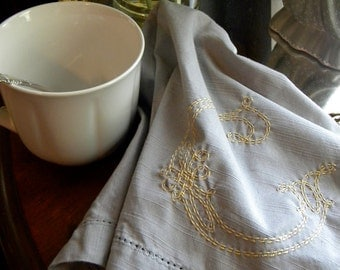 Hand Embroidered Dinner Napkins- Double Row Stitch, Set of 6 100% Cotton