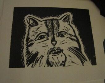 Cat Grishnackh Purzum Black Metal Parody Kitty Cat Woodcut Print
