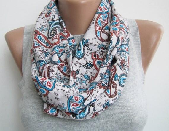 Cream teal orange paisley infinity scarf,loop scarf,circle scarf