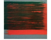 """Print of original oil painting, geometric abstract, 9"""" x 9.2"""". Minimal art reproduction, red green and grey. Title: Confrontations 4."""