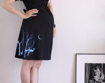 Black Cotton Maternity Dress . V-neck Nursing Dress . Plus Size Maternity Dress- Lovely Neighbors from the Woods - Size Extra Large