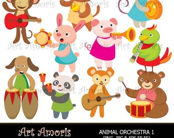 Animal Orchestra, Music instrument, musical, music, band, Clipart, Digital Clip Art, Vector, jpg, png TFP-2