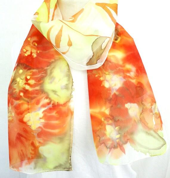 Orange Silk Scarf. Hand Painted Long Silk Scarf. Red Orange, Fluo Yellow Silk Scarf. Floral Fashion. 10x60 in. (25x150 cm). Ready to Ship.