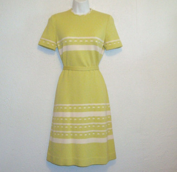 Vintage 1960s Sweater Dress . Mod Chartreuse Green and Cream Striped Wool