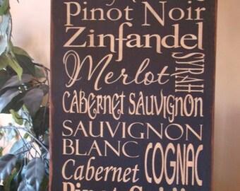 Wine Typography/Subway Word Art Sign