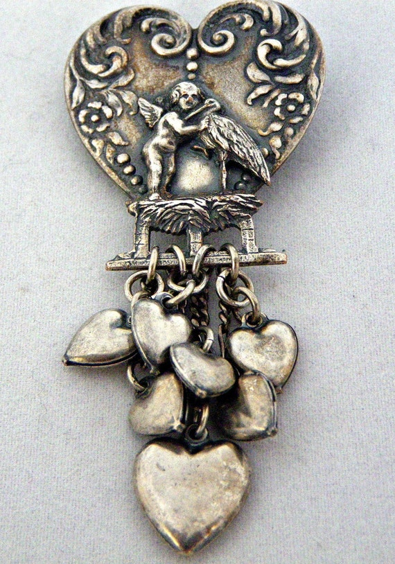Silver Repousse Heart Brooch w/ Cherub and Dangeling Hearts