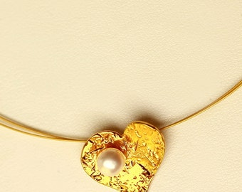 Silver gold plated heart pendant