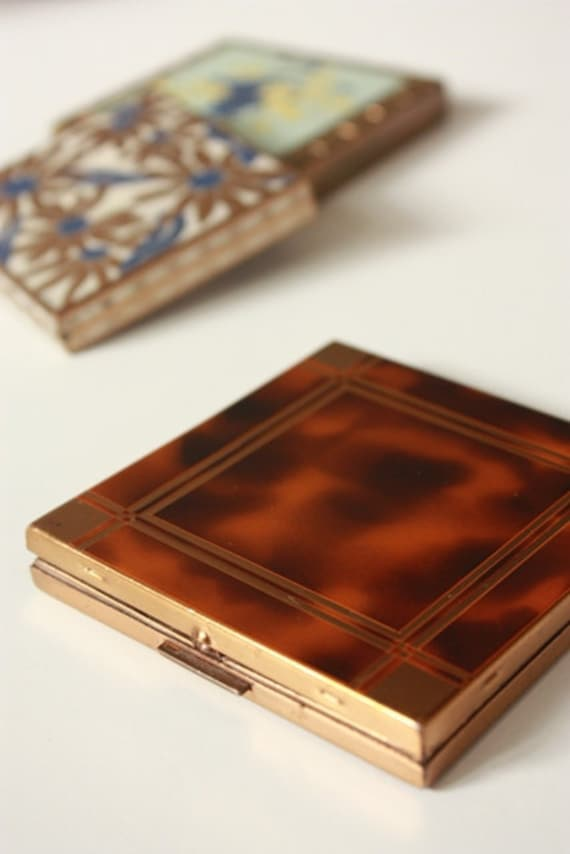 Vintage French Powder Compact - Faux Tortoise Shell & Copper