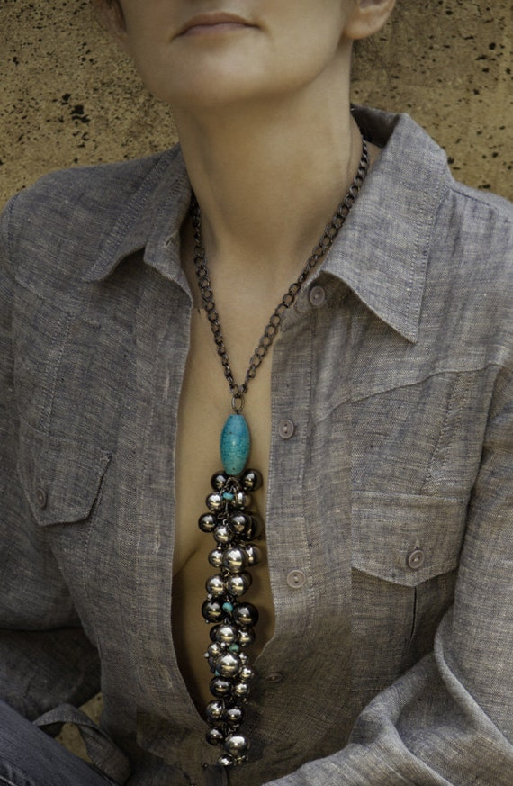 Long Y Necklace / Two Tone Cluster Necklace / Turquoise